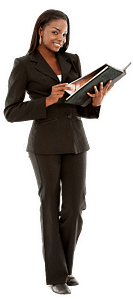 a workers comp fraud investigator who is holding a binder and smiling at the camera